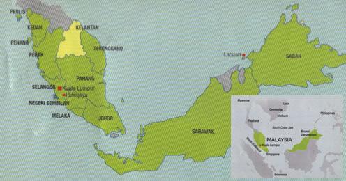 Location of Kelantan in Malaysia