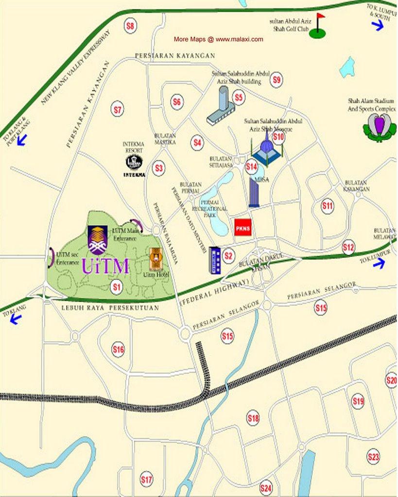 Shah Alam Map Directory Peta Street Road Location Maps - Location map ust