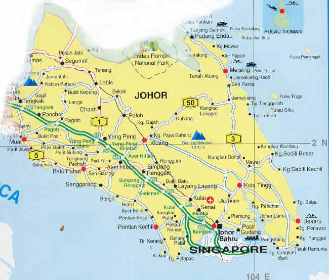Johor High way map location map